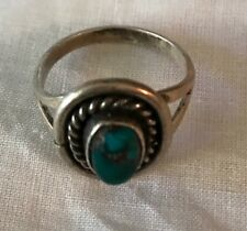 Ring Ethnic Style Small Silver & Stone