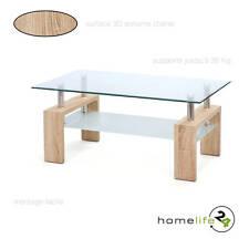 Table basse table d'appoint salon salle à manger en verre 2 plateaux pieds bois