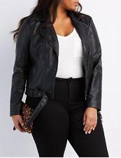 Women's Faux Leather Belted Jacket, Size: 1x, Black
