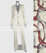 $2390 GUCCI SUIT JACKET & PANTS WHITE STRETCH WOOL EQUESTRIAN PRINT LINING 40 4