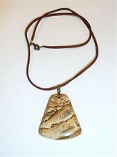 PICTURE JASPER PENDANT ON BROWN FAUX SUEDE CORD CG1721