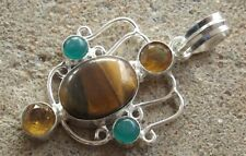 Handmade in India ~ silver plated tigers eye cabochon fancy design pendant