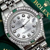 Ladies Rolex Datejust 26mm Stainless Steel Silver String Emerald Diamond Watch