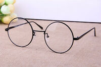 Retro Round Metal Frame Designer Clear Lens Glasses Nerd Geek Eyeglass Eyewear