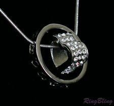 REDUCED! 925 Silver Circled Crystal Paved Heart Pendant Necklace! 70% OFF MRP!