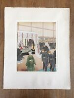 "c.1940s ""THE EMPEROR RECEIVES FOREIGN MINISTERS"" HIROSHIMA KÔHO PAINTING PRINT"