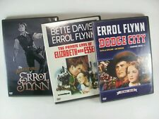 Lot of 3 Errol Flynn DVD movies -Dodge City-Elizabeth & Essex-Adventures of BIO