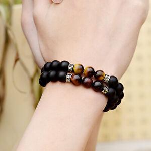 Fashion Men's 8MM Tiger Eye Natural Stone Onyx Beads Bracelet Charm Bracelets