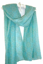 Pretty Turquoise Green Soft  Abstract  Print Scarf Wrap Shawl Sarong Pashmina