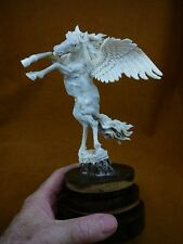 Peg-2 white Pegasus shed moose antler figurine detailed carving mythical horse