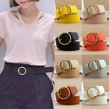 New Women Lady Vintage Metal Boho Leather Round Buckle Waist Belt Waistband B9