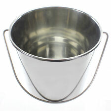 More details for 12 litre stainless steel bucket 12l metal large heavy duty silver pail + handle