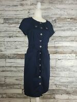 Maggy London Womens Navy Blue Short Sleeve Utility Dress Size 10