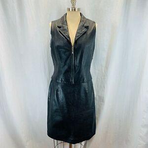 Vintage 90's Biker Black Leather Lined Skirt Vest Set - Women's 6/8 Medium