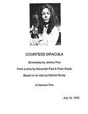 COUNTESS DRACULA 1970 HAMMER HORROR MOVIE FILM SCRIPT COPY VAMPIRES INGRID PITT