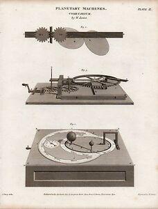 1812 GEORGIAN PRINT ~ PLANETARY MACHINES COMETARIUM by W. JONES ASTRONOMY