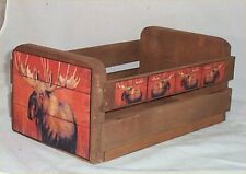 Gift Basket Empty Wood Crate Moose Decor Lodge Decoration Use for Gift Basket