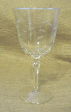 LIBBEY ROCK SHARPE WATER GOBLET GLASS WINDSWEPT LEAF EC CRYSTAL 1958 VINTAGE vtm