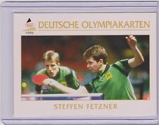 1996 DEUTSCHE OLYMPIAKARTEN ~ STEFFEN FETZNER OLYMPIC CARD #25 ~ PING PONG