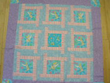 Tinker Bell in Blue, Pink and Purple Pieced Quilt top if Cotton fabric 44 in sq