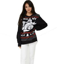 Unisex Ugly Christmas Knitted Jingle Bells Print Jumper Xmas Novelty Sweater