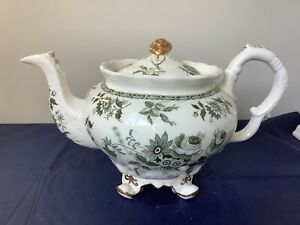SPODE GREEN AND WHITE LARGE FOOTED TRANSFERWARE TEAPOT C1830