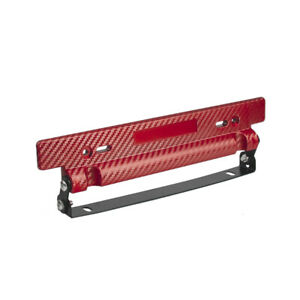 Adjustable Red Carbon Fiber Car Racing License Plate Frame Holder Universal Kit