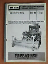 Ersatzteilliste Anbau Anleitung Schmidt Heck-Kehrmaschine HKS 4.2 Nr. 7143-01