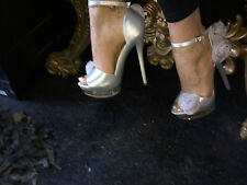 "Designer Silver Silk Rose Detail Ankle-Strap Sandals-See-Through Platform 6""heel"