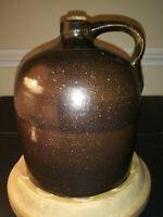 SPRING SALE! 19th Ce. Glaze-Overlap Handmade Stoneware Jug EXC