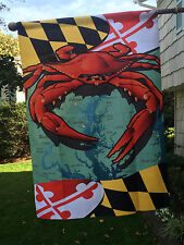 """New listing Red Crab Flag Maryland State Flag - House Large 28x40"""" Beach Nautical 2-Sided"""