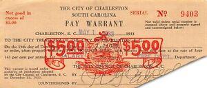 USA  / Pay warrant / Charleston  S.C.  $5 5.1.1933