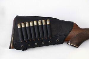Leather Buttstock Rifle Ammo Cartridge Shell Holder Cheek Rest Hunting - 8 ammo