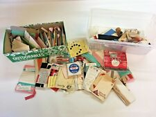 Vintage Sewing Supplies Trim Lace Thread Spools Needles Snaps Needles Buttons