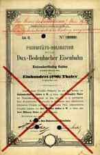 DUX Bodenbacher Eisenbahn 1869 Teplitz Falkenau Triebschitz 100 Thaler150 Gulden