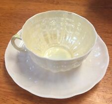 Antique Belleek TRIDACNA cup and saucer Yellow hues , 2nd green  mark