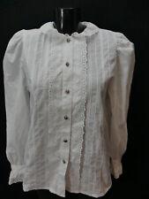 Gr.38 Trachtenbluse weiß Bluse Alphorn Baumwollmischung Stickerei Spitze TB6125