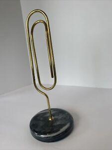"""Vintage Brass Standing Large Paper Clip Note Holder Desk Marble Base 9.5""""H 4""""W"""