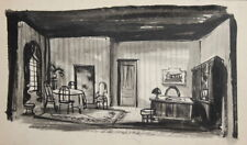 Vintage watercolor painting interior living room stage design