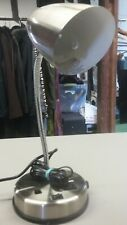 STAINLESS STEEL DESK LAMP with Outlet Adjustable Arm