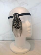 VINTAGE 1920s ART DECO GREY DIAMANTE FASCINATOR BLACK SEQUIN HEADBAND GATSBY UK