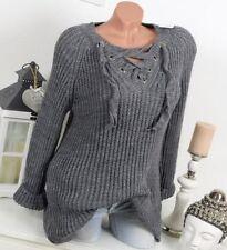 Lange Damen-Pullover & -Strickware ohne Muster in Größe 38