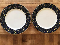 "2 Vitromaster Galaxy 1993 Dark Blue Rim Gold Stars Dinner Plates 10.5"" MINT COND"