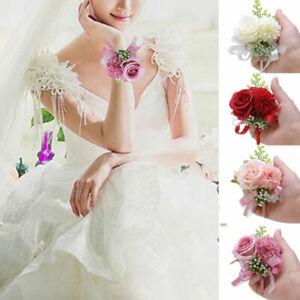 Bride Groom Wrist Flower Bracelet Silk Rose Corsage Bridesmaid Wedding Supplies