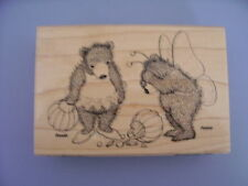HOUSE MOUSE RUBBER STAMPS SPILLED TREATS GRUFFIES HALLOWEEN NEW WOOD STAMP