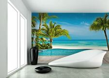 "Photo Wallpaper - DREAM VIEW ""BEACH SEA AND POOL"" - wall mural 366x254cm"
