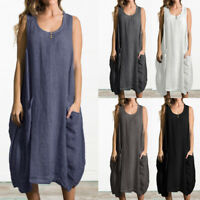 Womens Summer Beach Midi Dress Sleeveless Tunic Casual Loose Jersey Holiday Tops