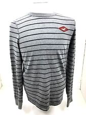 HOLLISTER MEN'S CREW NECK SWEATSHIRT SZ M Gray & Navy Striped LS Tee Shirt EUC
