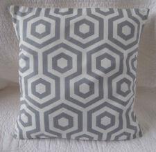 "14"" Cushion Cover Grey Off White Retro Geometric Cotton Print Handmade New 35cm"