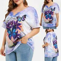 Summer Women Plus Size Tops Short Sleeve Oversize Shirt Print T-shirt Blouse CA